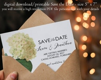 Hydrangea save the date, botanical Save the Date, custom save the date, ivory floral save the date, digital save the date, you print, 7 x 5