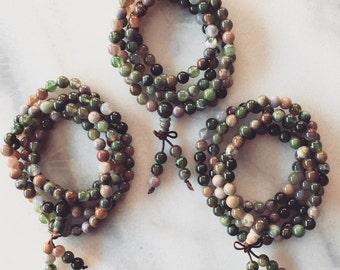 Agate Beaded Mala Wrap Bracelet