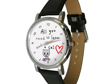 All you need is love.. and a cat design wristwatch - ideal for Cat Lovers - Cat Gift - mens watch - womans watch