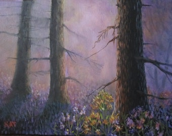 Forest Morning, original oil painting, 9x12