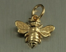 14K Gold Plated Sterling Silver Honeybee--Beekeeper--Honeybee Pendant--Bumble Bee Charm--Buzzing Insect--Humming Honeybee--Flower Bees