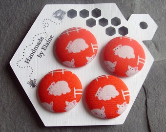 Fabric Covered Buttons - 4 x 28mm Buttons, Handmade Button, Red Buttons, Pig Buttons, Farm Buttons, Piggy Buttons, Animal Buttons, Pink,2817