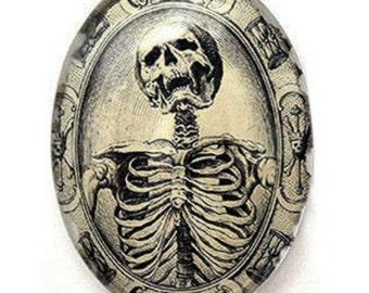 Glass Memento Mori Cameos Skeleton Mourning Death Gothic Goth 40x30mm 30x22mm 25x18mm 18x13mm