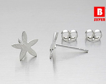 925 Sterling Silver Earrings, Leaf earrings, Brushed Earrings, Stud Earrings (Code : K09F)