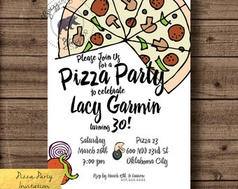 Pizza Party Birthday Invitation