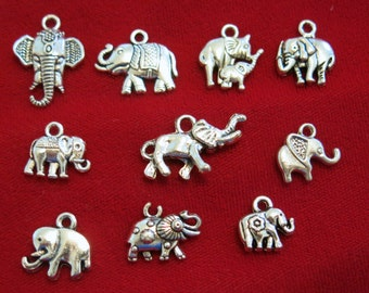 "10pc set ""elephant"" charms in antique silver style (BC843)"