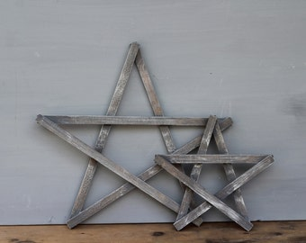 Painted Wooden Stars / Barn Wood Stained Wooden Stars / Nursery Stars / Fourth of July Decor / Star Home Decor / Set of Two Gray and White