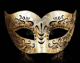 Mens Leather Masquerade Mask,  Masquerade Mask, Leather Mask, Black Mask, Mardi Gras Masquerade Mask - Gold