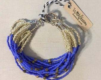 Handmade Multi Strand Beaded Bracelet in deep periwinkle