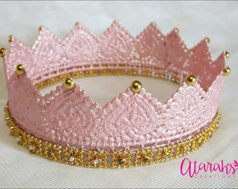 Gold Lace crown / Gold & Pink Lace Crown /  Lace Crown Newborn / Photo Prop / Cake topper / Photography Prop / MADE IN USA.