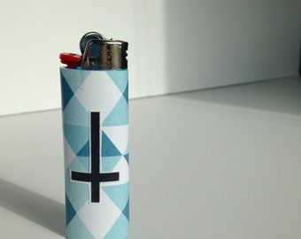 Upside down cross lighter, blue triangle bic, BUY 3 LIGHTERS get a 4th free