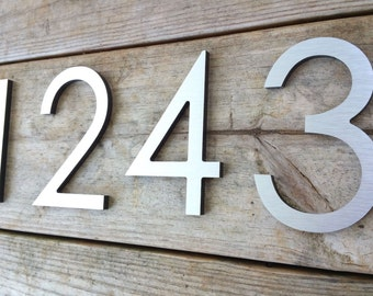 4'' Modern House Numbers Brushed Aluminum Stud Mounted Metal Address Numbers Letters Minimalist Contemporary Street Name Office Building