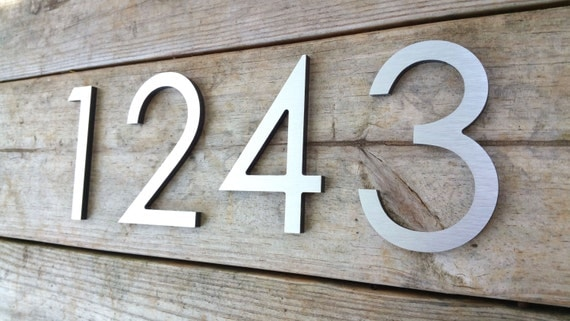 63939 modern house numbers brushed aluminum stud by for Contemporary house numbers and letters
