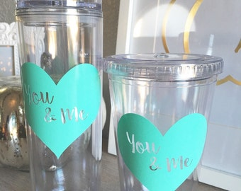 Ready To Ship-  Mommy and Me Tumbler Set, You & Me 16oz Tumblers, Mothersday, Baby Shower, Mommy.