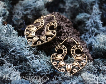 Tribal hoop brass earrings