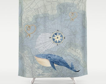 Nautical Map Shower Curtain - Whale, compass rose, historical map, - Blue, Home Decor - Bathroom - travel, blue, kids, coastal