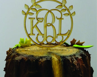 6 inch Nature Monogram CAKE TOPPER - Wedding, Classy, Party, Cake Decoration