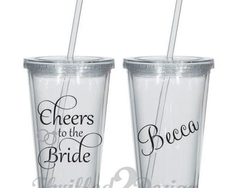 Cheers to the Bride Tumbler - Acrylic Skinny Tumbler Bride, Maid Of Honor, Groom, Gift