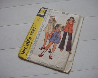 "McCalls 3696, Girls Dress or Jeans Top Sewing Pattern, Breast 24"" , Circa 1970"
