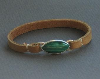 Malachite Leather Bracelet