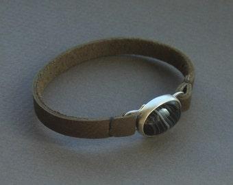 Banded Agate Leather Bracelet