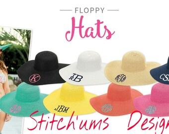 Monogrammed Floppy Hat, Beach Hat, Floppy Hat