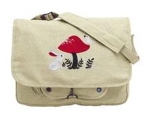 A Curious Find - Rabbit Bird Mushroom Embroidered Canvas Messenger Bag