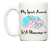 SALE: My Spirit Animal Is A Unicorn, Pink, Blue, Believe In Unicorns, Unicorn Art, Typography 15 oz Coffee Mug Cup