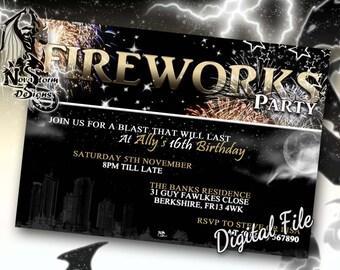 Fireworks Party Invitations - Bonfire Party - Fireworks Invites - Self Print (Digital File)