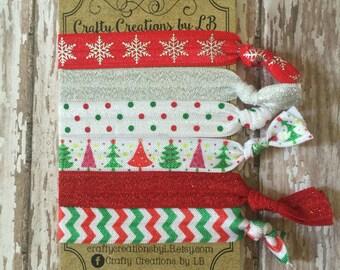 Set of 6 Christmas FOE hair ties, hair ties, Christmas hair ties, FOE hair ties, elastic hair ties, Christmas hair bands