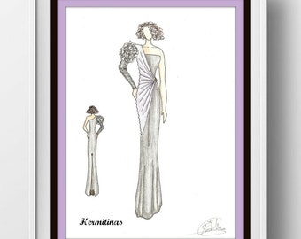 Purple black dress Fashion illustration, Fashion ar, Wall art, Digital fashion illustration, Instant download, Black and purple large dress.