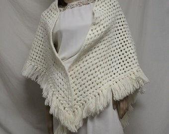 Knit shawl,white, knit wrap, shawl ,fringed