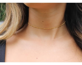 Gold choker/ dainty gold choker/ Minimalist choker/ gold satellite chain choker / Simple choker jewelry/ delicate gold layered