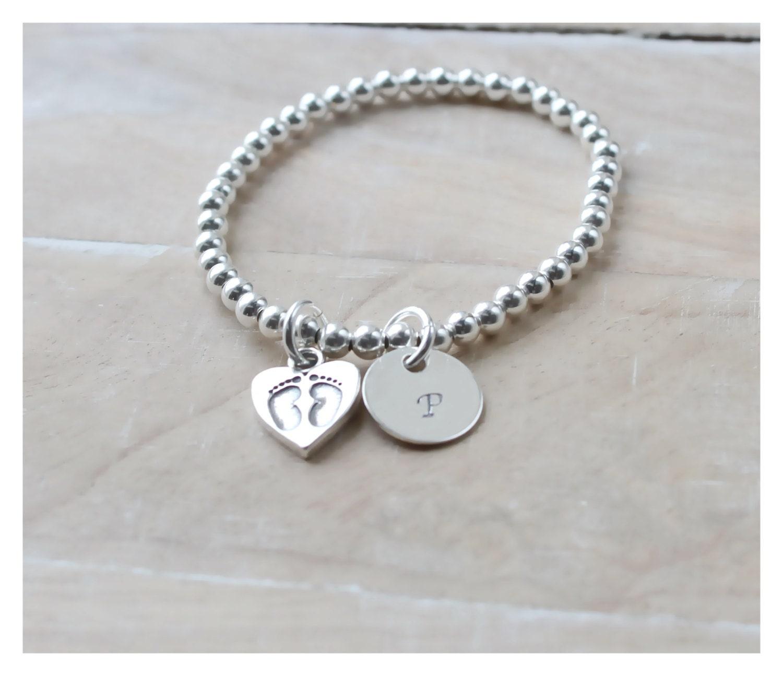 new mom bracelet baby footprint charm bracelet sterling. Black Bedroom Furniture Sets. Home Design Ideas