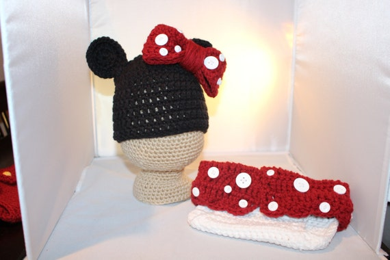 Minnie Or Mickey Mouse Hat And Diaper Cover Set By Jennshomemade