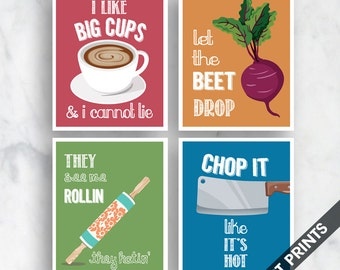 Funny kitchen print set set of 3 poster prints baking for Funny kitchen set