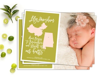 Custom Photo Adoption Announcement // Birth Country or State Adoption Announcement // The Lily