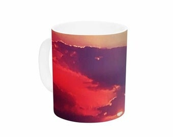 "Ceramic Coffee Mug - Orange Teal Sky Li Zamperini ""Summer"" LZ1042A Great Gift Idea!"