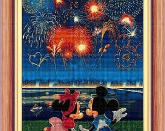 Mickey and Minnie Firework - cross stitch pattern - PDF patern - instant download!