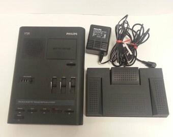 Free Shipping!! Philips LFH 1720 Microcassette Transcription System With Foot Pedal and Power Adapter WORKS