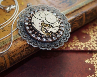 Steampunk Jewelry, Steampunk, Steampunk Necklace, Jewelry, Clockworks,Gothic, Punker, Neo Victorian, Art, Womens Necklace, Gift Idea