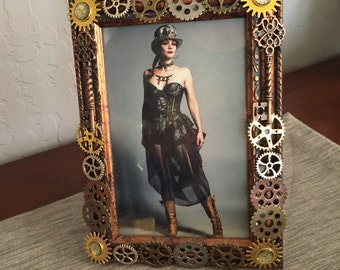 cadre steampunk photo frame cadre industriel par luckysteampunk. Black Bedroom Furniture Sets. Home Design Ideas