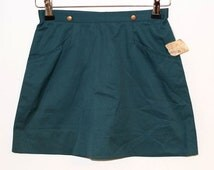 "Vintage 1970's ""ATA"" ""אתא"" Israeli Brand Skirt, Girl's Skirt, A-Line Green Skirt, Mini Skirt, Girls Size 12 - New with Tag"