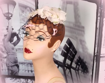 60s Pink Fascinator - Pale Pink Silk Flowers - Gorgeous Black Netting with Tiny Pink Velvet Bows