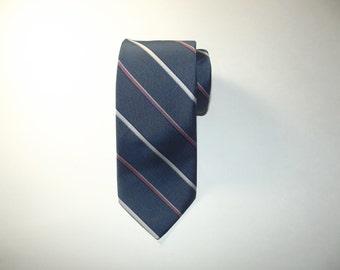Vintage Austin Manor Repp Striped Slim Tie / Slim Necktie / Made in USA / Gift for Him