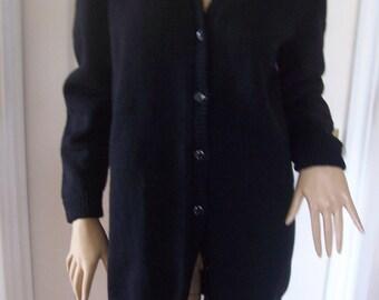 Black All Wool Home Made Longer Length Clown Cardigan sz 8/10 Pristine Unworn