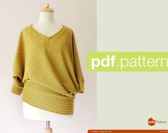 PDF sewing pattern. Women Diagonal knit top -Vanilla- (size 34-48)