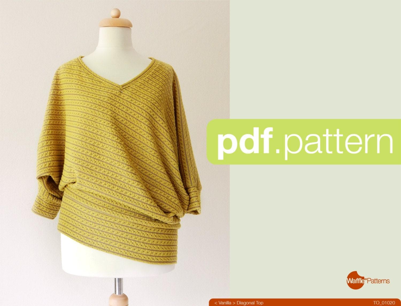 PDF sewing pattern. Women Diagonal knit top Vanilla size