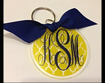 Monogrammed/Personalized Round Key Ring