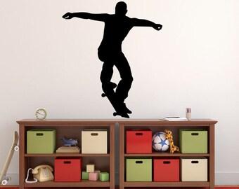 "Skateboarder Wall Decal - 31"" x 27"" Skateboarder Silhouette Vinyl Decal - Skateboarder 11"